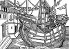 Прибытие на остров Малакка. Иллюстрация Йорга Бреу Старшего к описанию путешествия на восток Лодовико ди Вартема: Ludovico Vartoman / Die Ritterliche Reise. Издал Johann Miller, Аугсбург, 1515