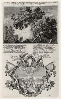 1. Неопалимая купина 2. Голод в Египте во времена Моисея (из Biblisches Engel- und Kunstwerk -- шедевра германского барокко. Гравировал неподражаемый Иоганн Ульрих Краусс в Аугсбурге в 1700 году)