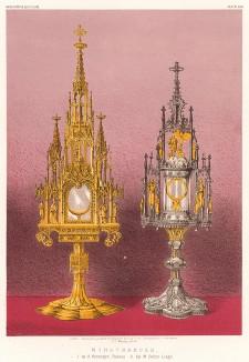 Дарохранительницы работы баварского ювелира Антона Хайнингера, выполненные из серебра с позолотой, эмалью и драгоценными камнями. Каталог Всемирной выставки в Лондоне 1862 года, т.2, л.156