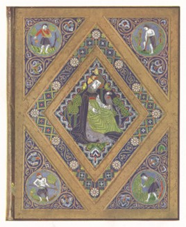 Средневековая кожаная накладка на стол с изображением различных видов земледелия и цветным орнаментом.