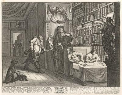 Гудибрас, 1725-26. Гудибрас и законник. Рыцарь-пуританин приходит к известному адвокату, намереваясь жаловаться на своих обидчиков. Лондон, 1838