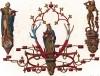 Люстра из резной древесины, изготовленная для приёмной знаменитого в XV веке отеля города Люнебурга, где шумно праздновались дни соляных копий (из Les arts somptuaires... Париж. 1858 год)
