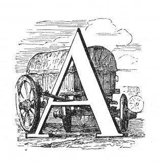 Инициал (буквица) A, предваряющий тридцать пятую главу «Истории императора Наполеона» Лорана де л'Ардеша о разрыве с Россией. Париж, 1840